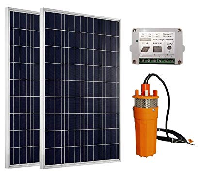 ECO-WORTHY High Power 2pc 100W Solar Panel + 24V Deep Well Submersible Water Pump & 15A Charge Controller